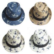 Children Kids Boys Girl Fedora Hat Trilby Cap Straw Jazz Sunhat Sunbonnet Summer