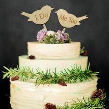 "~*~""I DO ME TOO"" Love Birds Wooden Wedding Cake Topper Rustic~*~2pcs"