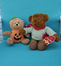 "Hallmark Plush Teddy Mittens And Halloween Thanksgiving Bear Lot 9"" and 14"""
