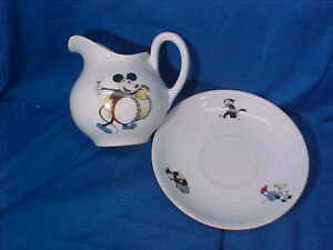 """Orig 1930s MICKEY MOUSE -OSWALD RABBIT Porcelain 4"""" PITCHER w Plate BAVARIA"""