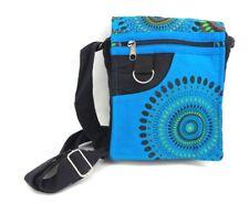 Crossbody Boho Purse Cotton Blue Geometric Kaleidoscope Hippie Shoulder Bag