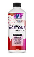 100% Pure Acetone Superior Quality Nail Polish Remover UV/LED GEL Soak Off 500ML