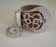 Western ice out buckle designer-style Animal Print Hanging  watch