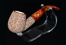 Vintage Block Hand Carved Turkish Meerschaum Estate Tobacco Pipe Rustic W/ Case