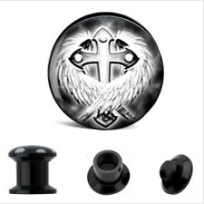 4mm-16mm atornilla oreja Plug screw fit túnel Dehner piercing motivo cruz negro