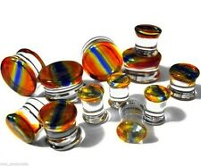 "Ear Plugs 22mm/7/8"" Gauge Body Je Pair-Pyrex Glass Dichroic Striped Saddle Flare"