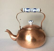 Vintage Copper TeaPot Kettle Blue & White Delft Porcelain Handle & Knop - TAIWAN