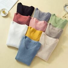 Long Sleeved Sweater Knitted Winter Pullover Fashion Outwear Slim V-neck Clothes