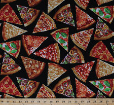Pizza Slices Pepperoni Supreme Pizza Food Black Cotton Fabric Print BTY D679.37