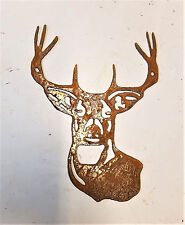 "8"" Buck Head Shape Deer Animal Rusty Rustic Vintage Metal Wall Art Craft Sign"