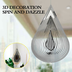 3D Flowing-Light Decor Garden House Hanging Gifts Drop-Shaped/Round Wind Spinner