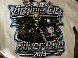 Vintage Virginia Ville 2003 Silver Run Chemise Taille L Moto Rallye Crânes Ls