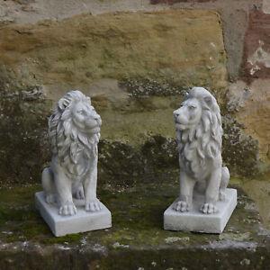 Sonderangebot: Massives Stein Löwen Paar klein aus Steinguss Gartendeko Raumdeko