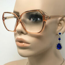 Gorgeous Vintage Reading Glasses Frame Boots +2.50 Clear Honey Hexagonal Retro