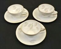 Winterling Bavaria Germany China Cup & Saucer Lot of 3 Autumn Leaf Gold Rim Vtg