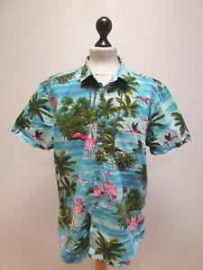 MENS PEACOCKS BLUE MIX PALM TREE THEME S/SLEEVED HAWAIIAN SHIRT UK L EU 52-54