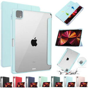 Smart Clear Back Case Cover Pen Slot Stand For iPad Pro 11 12.9 2021 5th 3rd Gen