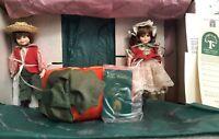 """Robin Woods Pumpkin Eaters 8"""" Dolls, 2 Doll Set, Stands, Pumpkin 112030 USA"""