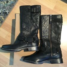 UGG S/N 1007669 LEATHER SIDE ZIP MOTO BOOT BLACK, SIZE 6, NIB!