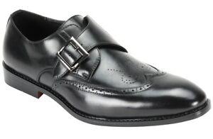 Men's Dress Shoes Wing Tip Monk Strap Black Slip On ANTONIO CERRELLI 6837