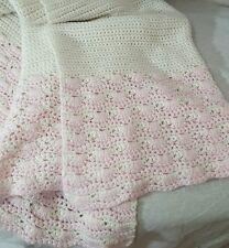 """Handmade Infant Blanket Girl Pink White  34"""" × 36"""""""
