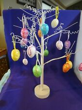 Easter Tree - White with 18 Colorful Egg Ornaments - Wood Base - Can bend branch