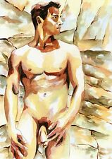 """PRINT Original Art Work Watercolor Painting Gay Male Nude """"Rock and sand"""""""