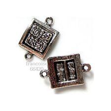6 Connecteurs entre-deux Carré 19x12x3.5 mm Perles apprêts création bijoux _A169