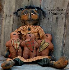 PATTERN Primitive LARGE Black Doll & Gingerbread Men Doll w/ Hearts Ornies CUTE!