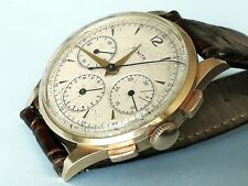 ZENITH 18K SOLID GOLD THREE COUNTERS OVERSIZE 38 MM CAL 156 CHRONOGRAPH  60'S