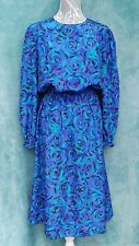 Vintage Ladies Dress Size UK 10/12 Blue Handmade 80's Midi Costume Theatre Prop