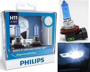 Philips Diamond Vision White H11 55W Two Bulbs Head Light Low Beam Replace Lamp