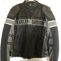 Harley-Davidson Mens Mecca Textile & Mesh Reflective Black Jacket 98295-17VM 2XL