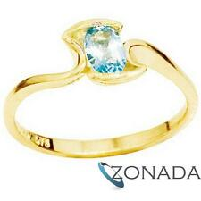 Natural Blue Topaz 9ct 9k Solid Yellow Gold Ring Size P 7.75 24995/BT