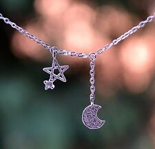 Sterling Silver 925 Pave Moon And Star Necklace on 16-17.5 inch Chain