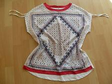 Esprit edc wunderschöne Chiffon Bluse /T-Shirt Gr. S /36 weiß mit Muster wie NEU