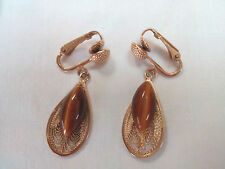Fashion Earrings Vintage 80s Gold Tone Clip-On Faux  Eye Tiger Stone