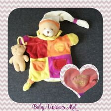 Peluche Doudou et compagnie Ours orange violet jaune rouge marionette TBE 25cm