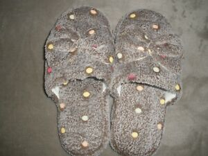New Women's Coffee Colored Polka Dot Bow Slippers Size 8