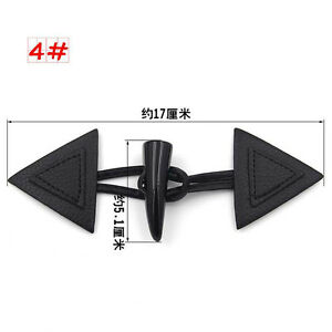 Quality Black Leather Horn Toggle Button Triangle Duffle Coat Fastener Craft DIY