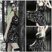 Fashion Women Gothic Style Punk Black Moon Star Print Cool Sleeveless Mini Dress