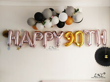 Happy 90th Rose gold balloons silver letters birthday banner garland letters
