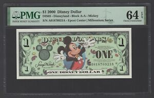 Disney Dollar 1 $  2000 DIS65 Mickey Block A-A Uncirculated