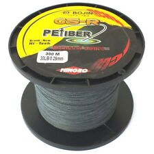 GSR PEFIBER BRAID FISHING LINE 30LB GREY 300M, MADE FROM 100% UHMWPE DYNEESI