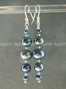 Genuine Natural Peacock Black Freshwater Pearl Silver Hook Long Drop Earrings AA