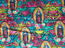 SAINT GUADALUPE ST. GOLD THREAD BRIGHT COLORS COTTON FABRIC FQ OOP