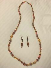 Amber and orange glass beaded necklace, with matching earrings