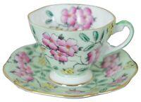 EB Foley Springdale English Bone China Pink Flower Teacup & Saucer