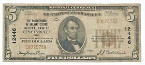 Cincinnati, OH 1929 $5  Brotherhood Railway Clerks Note CH 12446 Fine F T1 OHIO