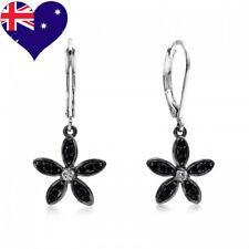 Daisy Flower Black Rhodium Plated Jet Cubic Zirconia Drop Earrings Wedding-Gift